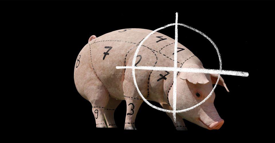 Ein Schwein ist in 7 Teil eingeteilt, auf diesem ist eine Zielscheibe.