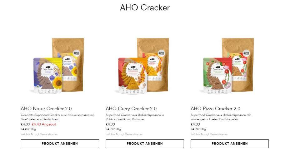 aho bio gutschein produkt cracker