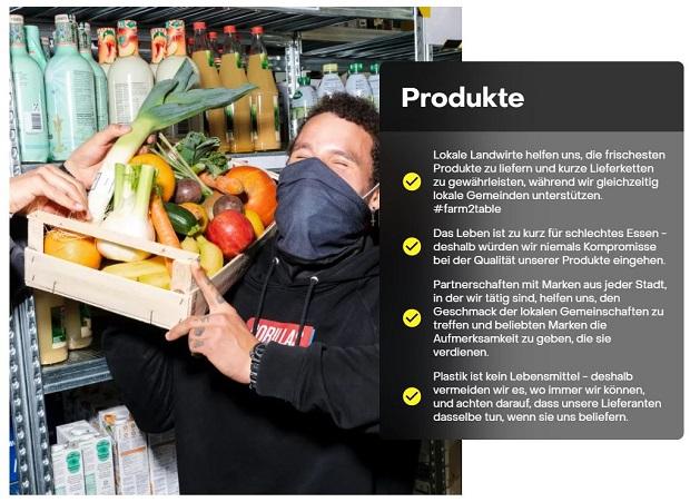 Lieferdienst Gorillas Produkte